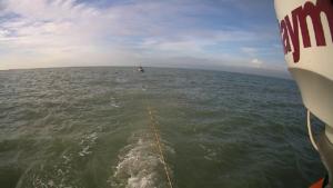 Visboot met gebroken schroefas