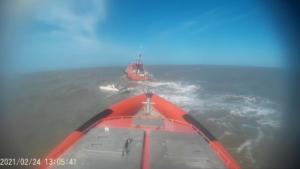 Catamaran met gebroken mast